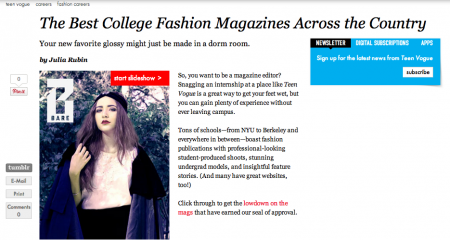 Bare Magazine featured on Teen Vogue!